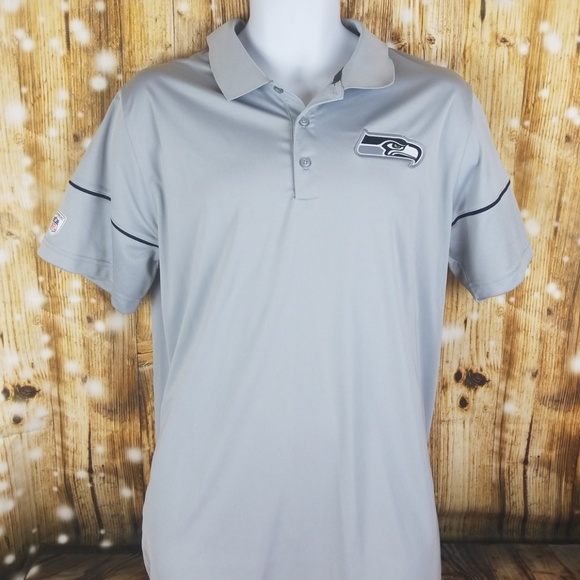 Seattle Seahawks Nike Dri-fit grey NFL polo shirt.  M 5b246f691b3294fe456a063f 2f40bf032